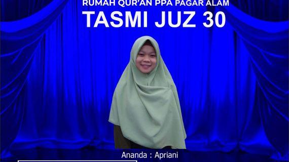 Tasmi' Al Qur'an RQ PPA Pagar Alam Juz 30